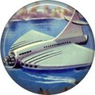 Mid Century View of Floating Airplane, Retro Future 1 Inch Button Badge Pin - 0631