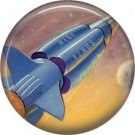 Rocket Ship to Mars Venus and Jupiter, Retro Future 1 Inch Button Badge Pin - 0632
