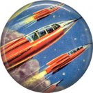 Mid Century View of Rocket Ships, Retro Future 1 Inch Button Badge Pin - 0633