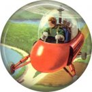 Mid Century View of Helicopter, Retro Future 1 Inch Button Badge Pin - 0634