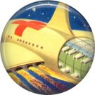 Mid Century View of Yellow Space Ship, Retro Future 1 Inch Button Badge Pin - 0635