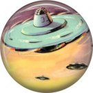 Mid Century View of Flying Saucer, Retro Future 1 Inch Button Badge Pin - 0636
