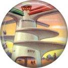 Mid Century View of Future Architecture, Retro Future 1 Inch Button Badge Pin - 0637