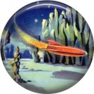 Mid Century View of Red Rocket Ship, Retro Future 1 Inch Button Badge Pin - 0638