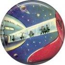 Space Walkway, Retro Future 1 Inch Button Badge Pin - 0641