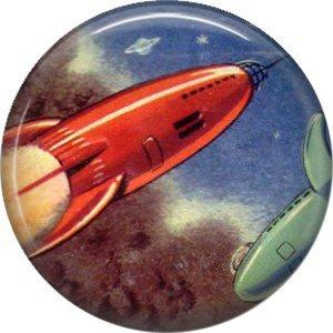 Red Spaceship, Retro Future 1 Inch Button Badge Pin - 0645