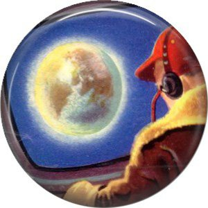 Earth from Space, Retro Future 1 Inch Pinback Button Badge Pin - 0646