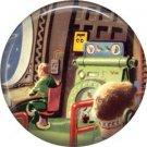 Command Center, Retro Future 1 Inch Pinback Button Badge Pin - 0652