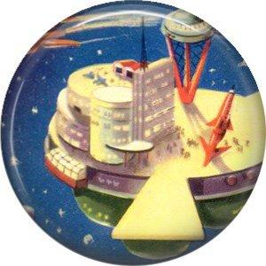 Future Space City, Retro Future 1 Inch Pinback Button Badge Pin - 0653