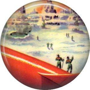 Exploring Distant Planets, Retro Future 1 Inch Pinback Button Badge Pin - 0655