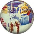 Distant Planet Terrain, Retro Future 1 Inch Pinback Button Badge Pin - 0659