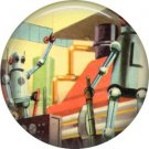 Robots at Work, Retro Future 1 Inch Pinback Button Badge Pin - 0665