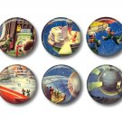 Set of 12 Retro Future 1 Inch Pinback Button Badge Pins - Set 3