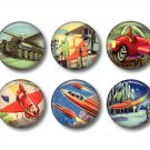 Set of 6 Retro Future 1 Inch Pinback Button Badge Pins - Set 4