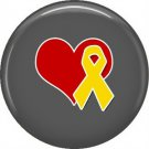 Yellow Support Our Troops Ribbon and Heart on Gray Background, 1 Inch Button Badge Pin - 5018