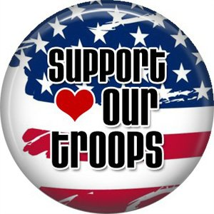 Support our Troops on Flag Background, 1 Inch Button Badge Pin - 5032