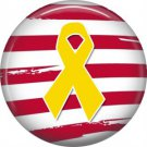 Yellow Ribbon on Red Stripes, Support Our Troops 1 Inch Pinback Button Badge Pin - 5041