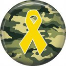 Yellow Ribbon on Camouflage, Support Our Troops 1 Inch Pinback Button Badge Pin - 5043