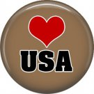 USA on Tan, Support Our Troops 1 Inch Pinback Button Badge Pin - 5044