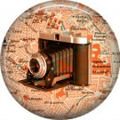Vintage Camera with Bellows, 1 Inch Button Badge Pin of Vintage Image - 0222