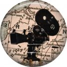 Movie Camera, 1 Inch Button Badge Pin of Vintage Image - 0226