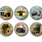 Set of 12 Vintage Cameras on Maps on 1 Inch Pinback Button Badge Pins - Set 1