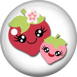 Strawberries, Fruit Cuties 1 Inch Button Badge Pin - 0294