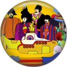 The Beatles Standing by Yellow Submarine Psychedelic Image, 1 Inch Button Badge Pin - 0280