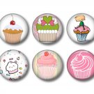 12 Cupcake 1 Inch Pinback Button Badge Pins - Set 1a