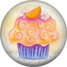 Orange Cupcake, 1 Inch Button Badge Pin - 0313