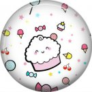 Cupcake with Candy, 1 Inch Button Badge Pin - 0306