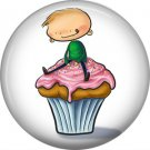 Little Boy Sitting on Top of Cupcake, 1 Inch Button Badge Pin - 0305