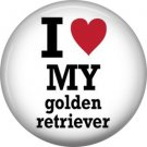I Love My Golden Retriever, Dog is Love 1 Inch Pinback Button Badge Pin - 6131