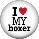 I Love My Boxer, Dog is Love 1 Inch Pinback Button Badge Pin - 6135