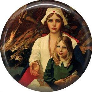 Vintage Red Cross Nurse, 1 Inch Button Badge Pin of Occupation Nurse - 0272
