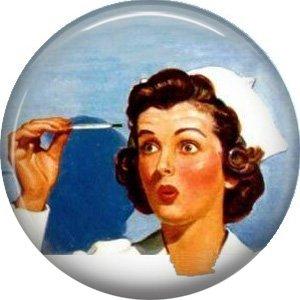 Mid Century Nurse, 1 Inch Button Badge Pin of Occupation Nurse - 0271