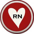 RN in White Heart, 1 Inch Button Badge Pin of Occupation Nurse - 0245