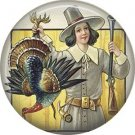 Pilgrim Holding Shot Turkey, 1 Inch Pinback Button Badge Pin of Vintage Thanksgiving Image - 0331