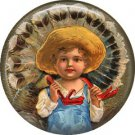Farmer Boy Carries Turkey, 1 Inch Pinback Button of Vintage Thanksgiving Image - 0326