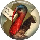 Hearty Greetings from Mr. Turkey, 1 Inch Pinback Button of Vintage Thanksgiving Image - 0325