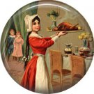 Carrying the Turkey to the Table, 1 Inch Pinback Button of Vintage Thanksgiving Image - 0322