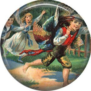 Children Bringing Home the Turkey, 1 Inch Pinback Button of Vintage Thanksgiving Image - 0321