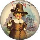 Pilgrim Boy, 1 Inch Pinback Button of Vintage Thanksgiving Image - 0320