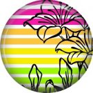 Lily on Striped Background, 1 Inch Button Badge Pin Punk Princess - 0333