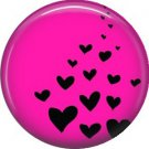 Black Hearts on Hot Pink Background, 1 Inch Punk Princess Button Badge Pin - 0334