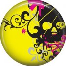 Black Skull on Yellow Background, 1 Inch Punk Princess Button Badge Pin - 0341