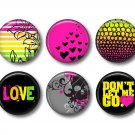 Set of 12 Punk Princess 1 Inch Scrapbook Flair Medallions - Set 1