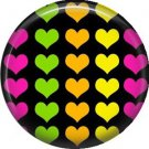 Multi Colored Hearts, 1 Inch Punk Princess Button Badge Pin - 0346