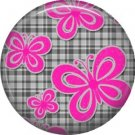 Pink Butterflies on Gray Plaid Background, 1 Inch Punk Princess Button Badge Pin - 0349