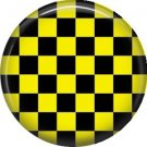 Yellow and Black Checkerboard, 1 Inch Punk Princess Button Badge Pin - 0352